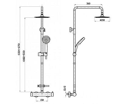 Душевая колонна с термостатическим смесителем для ванны BelBagno NOV-VSC-T-IN