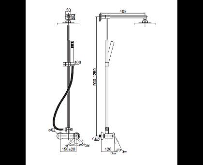 Душевая колонна со смесителем для верхнего и ручного душа BelBagno TIC-DOCM-CRM