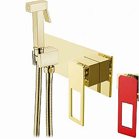 Гигиеническая лейка со смесителем Boheme Q 147-GR золото