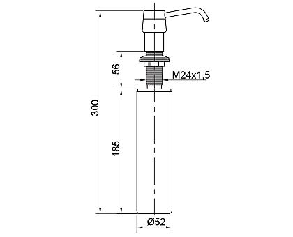 Дозатор жидкого мыла встраиваемый (колба пластик 250мл.), хром