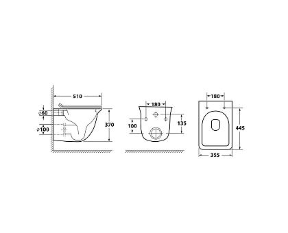 Унитаз подвесной безободковый OWL Eter Ruta-H OWLT190203 с сиденьем DP микролифт