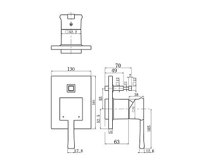 Встраиваемый смеситель для ванны и душа BelBagno MIL-BASM-CRM