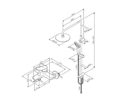 F40885A34 X-Joy набор 2в1: см-ль для ванны душа верхний душ d 220 мм ручн.душ 110 мм 3 ф-ции душев