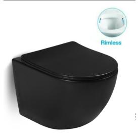 Унитаз подвесной безободковый черный матовый с сиденьем микролифт SantiLine SL-5018MB