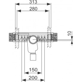 Монтажный комплект со встроенным сифоном для раковины TECE 9020034
