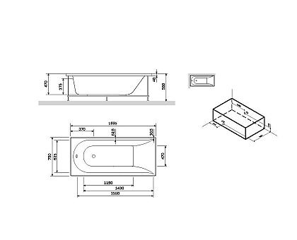 W72A-170-075W-P2 Панель фронтальная для ванны Spirit 170х75