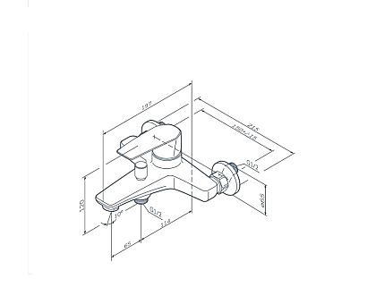 F90A10022 Gem смеситель для ванны душа излив 179 мм черный.
