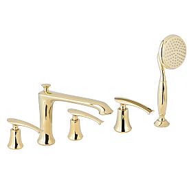 Смеситель на борт ванны с душем AltroBagno Beatrice Beatrice 020103 Or