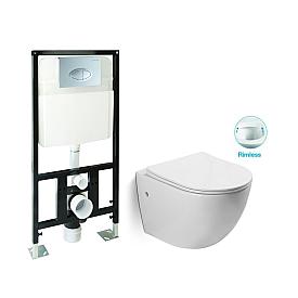 Унитаз подвесной безободковый с инсталляцией и сиденьем микролифт SantiLine SL-5018/SL-01
