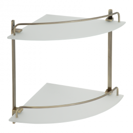 GIFORTES Полка угловая двойная 26х26xH30 см. стекло матовое, бронза