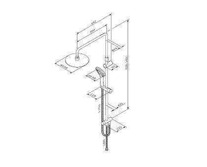 F0790100 Gem душ.система набор: верхн.душ d 220 мм ручн.душ 3 ф-ции d 110 мм переключатель душ.ш