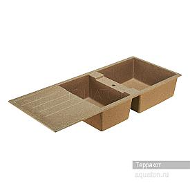 Мойка для кухни Торина прямоугольная с крылом и чашей терракот Aquaton 1A712032TR270