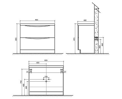 База под раковину BelBagno ANCONA-N-900-2C-PIA-BF