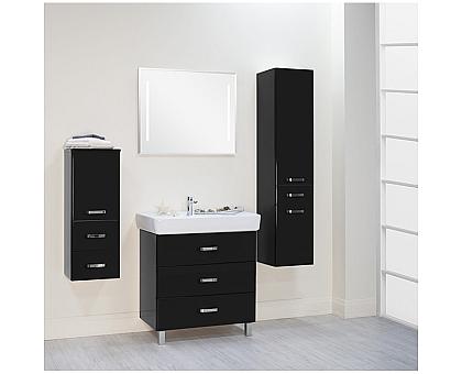 Мебель для ванной Америна 80 М черная Aquaton 1A169101AM950 (Тумба + раковина + зеркало)