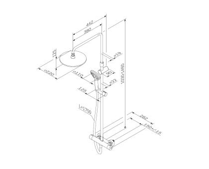 F0790420 Gem душ.система набор: смеситель для душа с термостатом верхн. душ d 220 мм ручн.душ 3 ф-ц