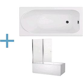 Акриловая ванна Aquanet Nord 150x70 со шторкой Aquanet Alfa 4 NF6222-pivot 00204017 , 00196049