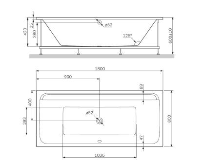 W52A-180-080W-R Inspire 2.0 каркас для ванны 180х80  комплект