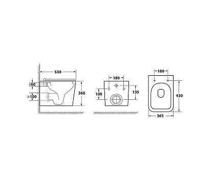 Унитаз подвесной безободковый OWL Vatter Ruta-H OWLT190401 с сиденьем DP микролифт