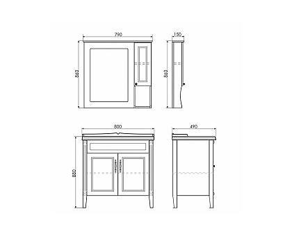 Зеркало-шкаф Comforty Палермо-80 00004139246
