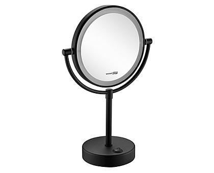K-1005BLACK Зеркало с LED-подсветкой двухстороннее, стандартное, с 3-х кратным увеличением WasserKRAFT