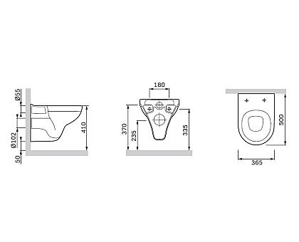 C901738SC Gem подвесной унитаз с сиденьем микролифт
