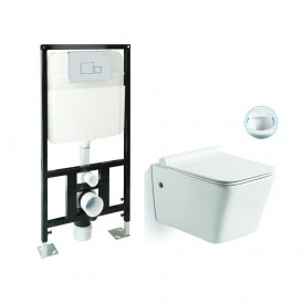 Унитаз подвесной безободковый с инсталляцией и сиденьем микролифт SantiLine SL-5004/SL-01
