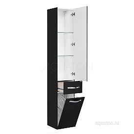 Шкаф - колонна Ария подвесная черный глянец Aquaton 1A134403AA950