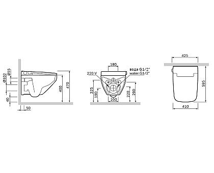 CCC50A1700SC Inspire V2.0 подвесной унитаз с интегрированным электронным биде TouchReel