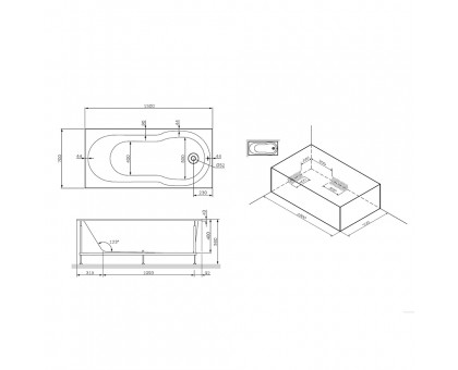 W88A-150-070W-R X-Joy каркас в комплекте с монтажным набором 150х70 см