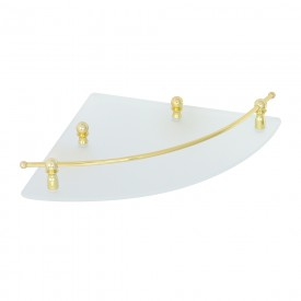 GIALETTA Полка угловая с галереей, матовое стекло/золото