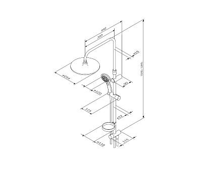 F0750A100 Inspire V2.0 душ.система набор: верхн.душ d 250 мм ручн.душ 3 ф-ции d 120 мм переключат