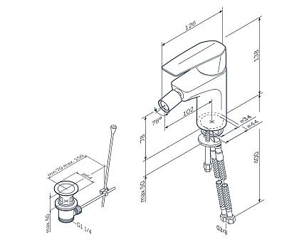 F90A83100 Gem смеситель для биде с д/к хром.
