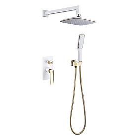 Смеситель встроенный + верхний душ + ручной душ БЕЛЫЙ+ЗОЛОТО Boheme VENTURO 384-W белое-золото