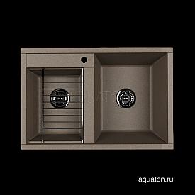 Мойка для кухни Делия 78 DBL 2 чаши серый шелк Aquaton 1A723132DE250