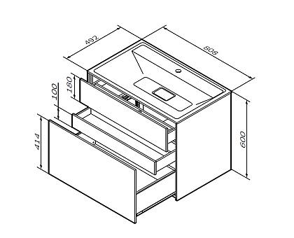 M50AFHX0803WM INSPIRE V2.0 База под раковину подвесная 80 см 3 ящика push-to-open белый матовы