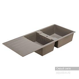 Мойка для кухни Торина прямоугольная с крылом и чашей серый шелк Aquaton 1A712032TR250