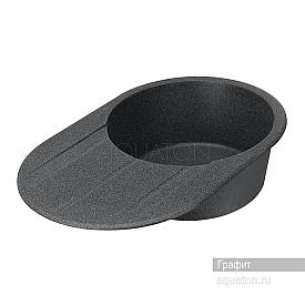 Мойка для кухни Амира круглая с крылом графит Aquaton 1A712932AI210