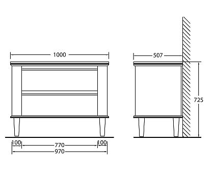 База под раковину BelBagno RADICE1000-2A/2C-710-TO
