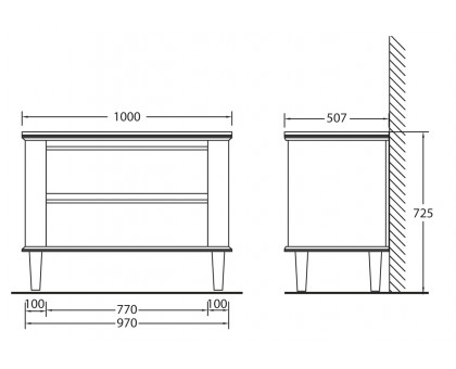 База под раковину BelBagno RADICE1000-2A/2C-710-BL