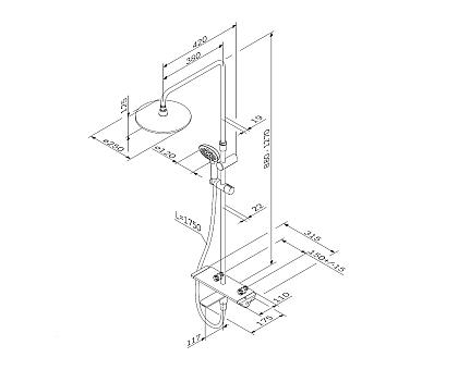 F0770A500 Spirit V2.0 душ.система набор: смеситель для ванны душа с термостатом верхн. душ d 250 мм