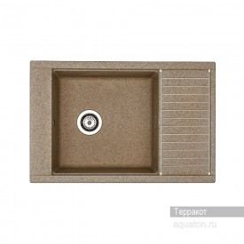 Мойка для кухни Делия 78 прямоугольная с крылом терракотовая Aquaton 1A715132DE270