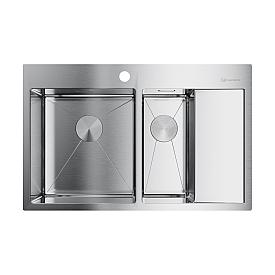 Кухонная мойка Omoikiri Akisame 78-2-IN-L 4973062 нержавеющая сталь
