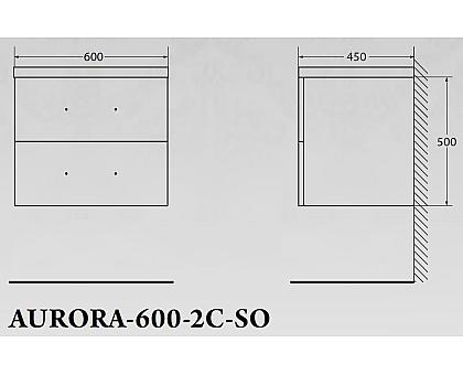 База под раковину BelBagno AURORA-600-2C-SO-AV