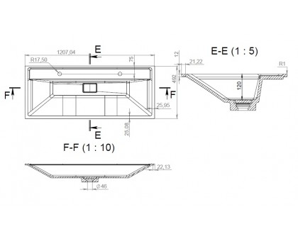 M50AWPX1201WG INSPIRE V2.0 раковина мебельная  искусственный мрамор со сливом-переливом 120 см
