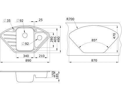 Мойка для кухни кварцевая Paulmark Wiese PM529050-BE