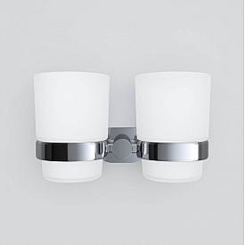A74343400 Sense L Двойной стеклянный стакан с настенным держателем хром