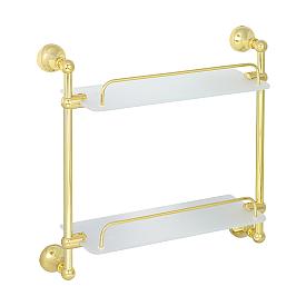 GIALETTA Полка двойная с галереей L35 см, матовое стекло/золото
