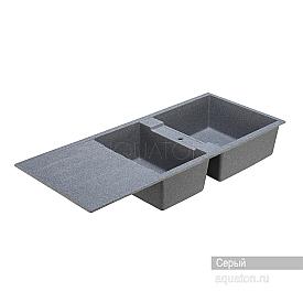Мойка для кухни Торина прямоугольная с крылом и чашей серая Aquaton 1A712032TR230
