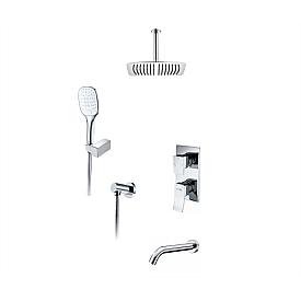 А171668 Встраиваемый комплект для ванны с верхней душевой насадкой, лейкой и изливом WasserKRAFT