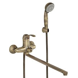 GRAZIA Смеситель д/ванны монокомандный, с поворотным изливом L40 см. и ручным душем, бронза